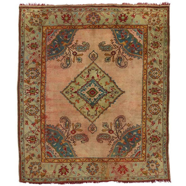 Textile Antique Turkish Oushak Rug with Modern Style For Sale - Image 7 of 7