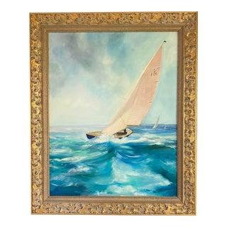 "1990s ""Bluebottle"" Seascape Oil Painting on Linen, Framed, Signed For Sale"