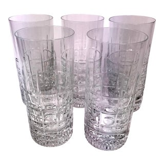 Vintage Highball Cut Crystal Cocktail Glasses - Set of 5 For Sale