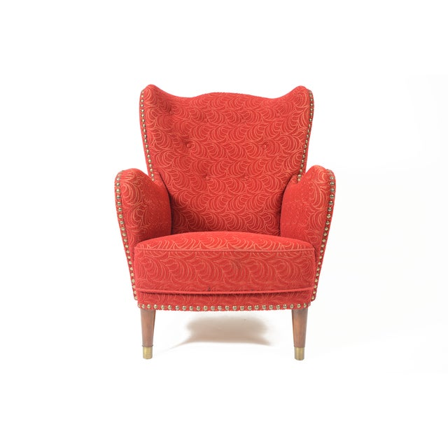 Danish Modern Crimson Frieze Club Chair - Image 4 of 11