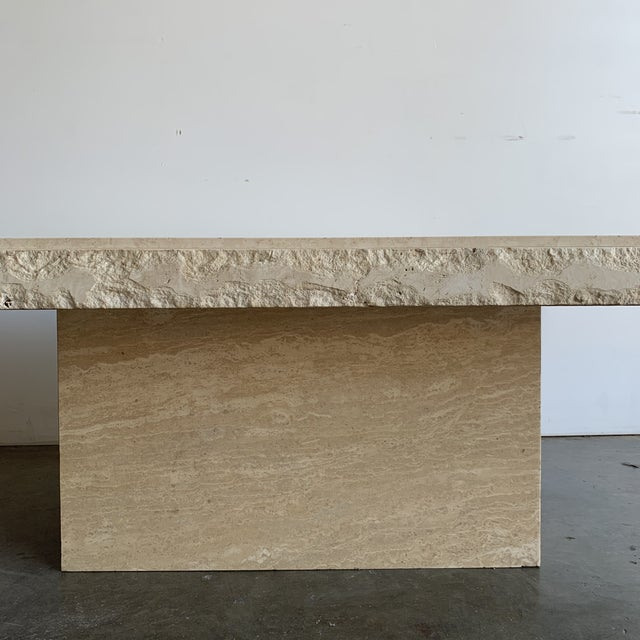 Textured Edge Travertine Coffee Table For Sale - Image 9 of 13