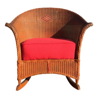 1920-30s Lloyd Loom Rocking Chair For Sale