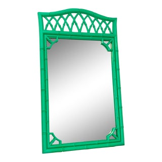 1970s Boho Chic Kelly Green Faux-Bamboo Mirror For Sale