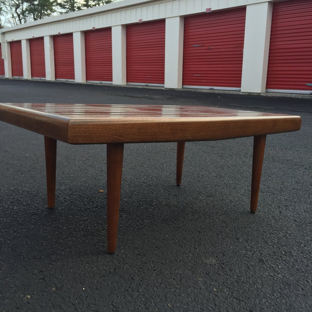 Mid-century Walnut Slat Rectangular End Table - Image 6 of 7