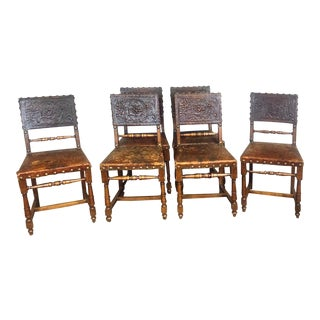 Vintage Spanish Revival Dining Chairs - Set of 6 For Sale