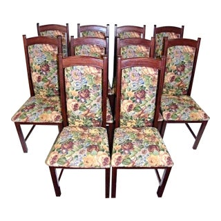 Accent Vintage Tapestry Upholstered Side Dining Chairs - Set of 10 For Sale