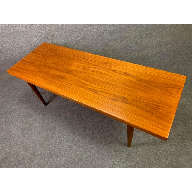 Here is a beautiful 1960's minimalist surfboard coffee table in teak wood recently imported from Denmark to California...