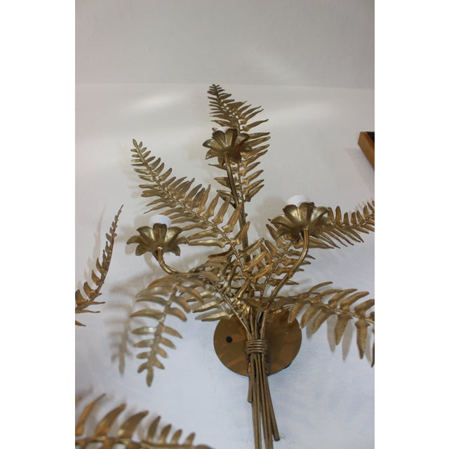 Mid-Century Sconces Fern Motif - a Set of 2 For Sale - Image 9 of 13