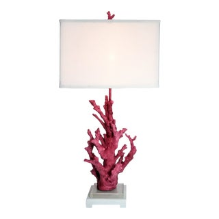 Pink Coral Resin Lamp With White Shade and Coral Finial For Sale