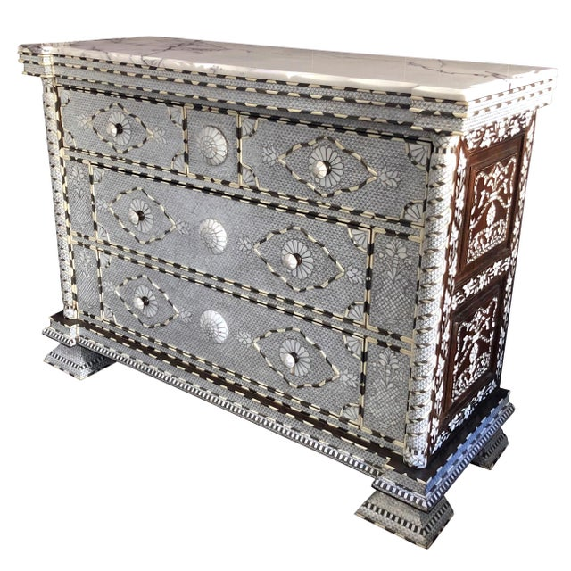 Moorish All White Syrian Mother of Pearl Inlay Dresser For Sale - Image 10 of 10