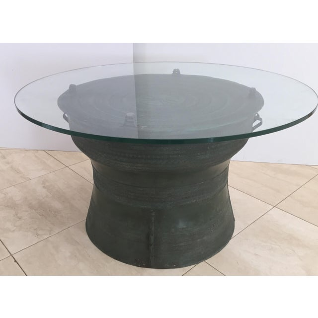 Asian Cast Bronze Rain Drum with Glass Top Coffee Table For Sale - Image 11 of 11