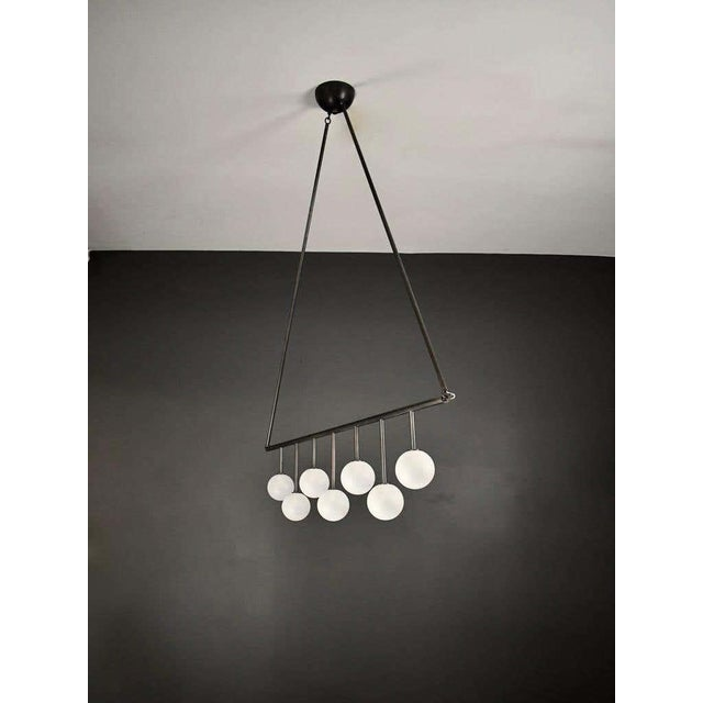 Blueprint Lighting Trillo Ceiling Fixture in Oil-Rubbed Bronze & Blown Glass by Blueprint Lighting For Sale - Image 4 of 7