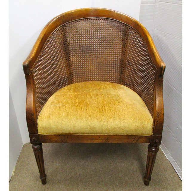 Vintage Cane Back Barrel Chair Chairish