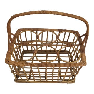 Vintage Rattan Wine Caddy For Sale