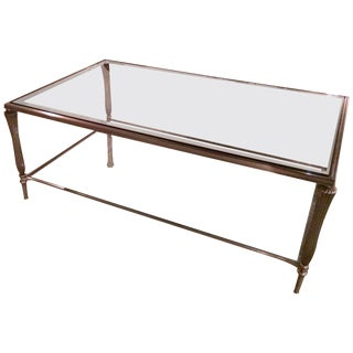 Handsome Silver Metal and Gleaming Glass Two-Tier Coffee Table For Sale