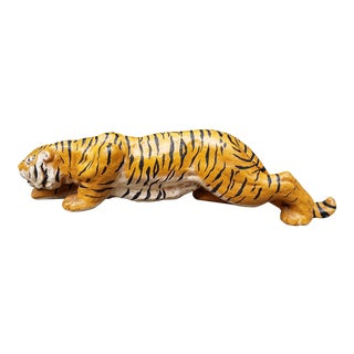 1960s Figurative Plaster Stalking Tiger Figurine For Sale