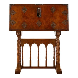 Spanish Baroque Style Vargueño Cabinet Desk on Stand For Sale