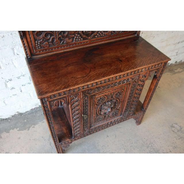 Oak 19th Century English Ornate Carved Oak Sideboard Bar Cabinet For Sale - Image 7 of 13