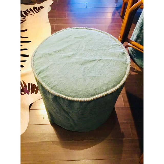 These slipcovered pieces are so versatile. The linen ocean blue green color is so pretty and the tan colored whip...