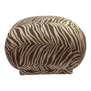 1970s Hollywood Regency Linen Tiger Souffle Pouf For Sale