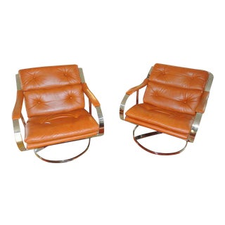 Pair of Gardner Leaver for Steelcase Oversized Nickel and Leather Club Chairs For Sale
