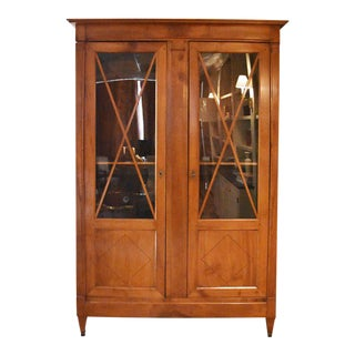 19th Century Directoire Style Blonde Walnut Bibliotheque or Bookcase For Sale