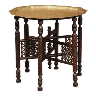 19th Century Moroccan Carved Six-Leg Folding Table Base With Engraved Brass Top For Sale