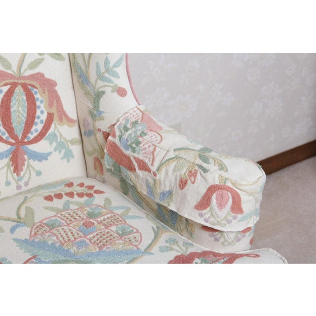 Vintage Woodmark Original Crewel Embroidered Wingback Chair For Sale - Image 11 of 11