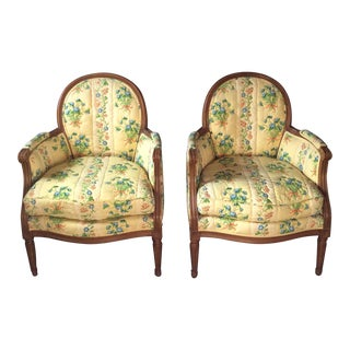 Baker French Louis XVI Bergere Chairs - A Pair
