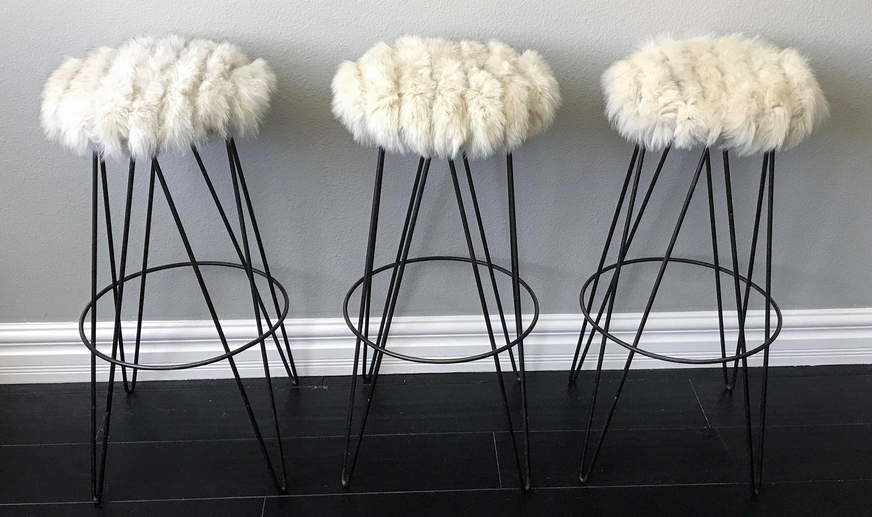 Set Of Three Thinline Of California Barstools In Fox Fur