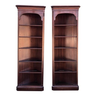 Ethan Allen Georgian Court Cherry Corner Bookshelves- a Pair For Sale