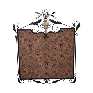 William Switzer Louis XVI Hand Forged Iron Framed Textile For Sale