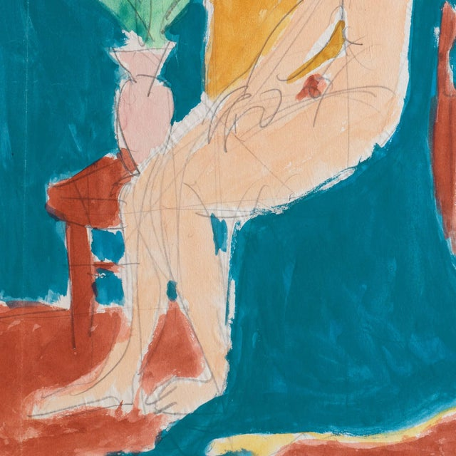 1950s 'Seated Nude' by Victor Di Gesu; 1955, Paris, Louvre, Académie Chaumière, California Post-Impressionist, Lacma For Sale - Image 5 of 8