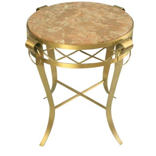French Neoclassical Round Rogue Marble Top Bronze Gueridon Occasional Table For Sale