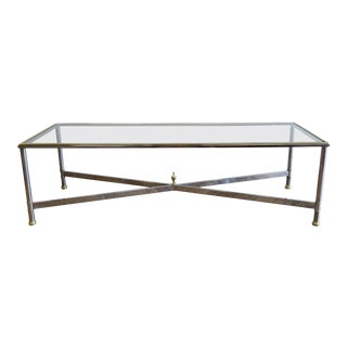 Glass Chrome and Brass Rectangular Cocktail Table For Sale