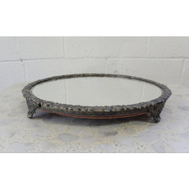 Metal Vintage Mid Century Silver Mirror Dressing Vanity Tray For Sale - Image 7 of 7