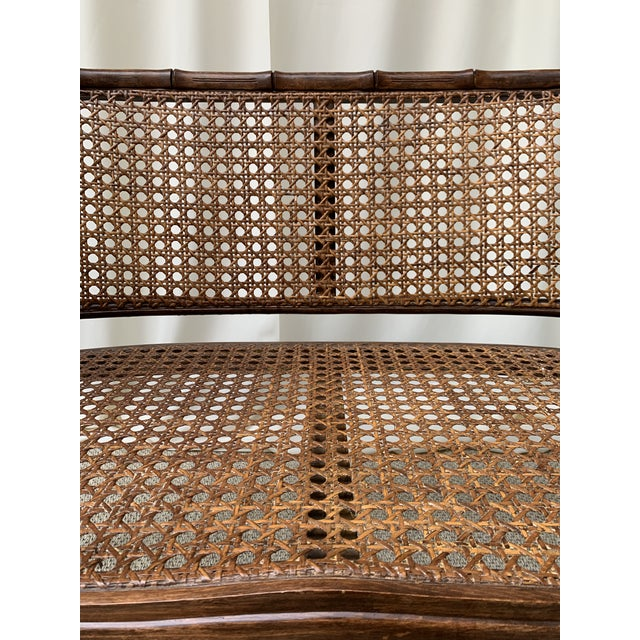 Mid 20th Century Mid 20th Century Hollywood Regency Chippendale Style Faux Bamboo and Cane Settee For Sale - Image 5 of 10