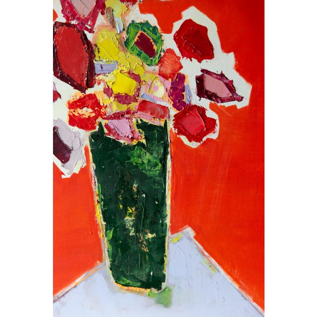 """2020s Bill Tansey """"Tall Green Vase"""" Abstract Floral Oil Painting on Canvas For Sale - Image 5 of 7"""