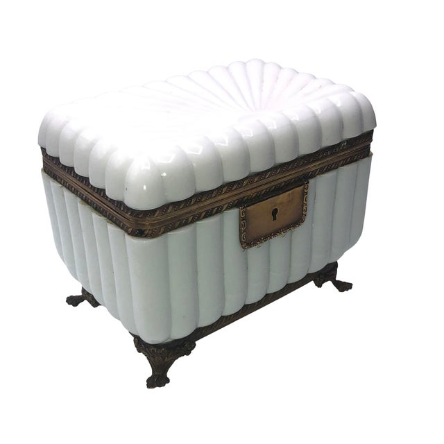 White 1950s French White Opaline Glass Box For Sale - Image 8 of 11