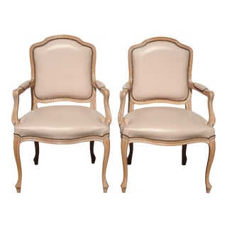 Vintage French Country Leather Accent Chairs by Chateau d'Ax Spa Made Italy - a Pair For Sale