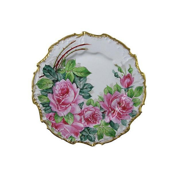 Gold Rimmed Porcelain Rose Plates- Set of 6 - Image 3 of 5