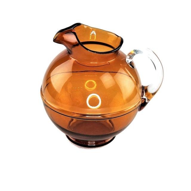 Mid-Century Modern Amber Art Glass Hand Blown Iced Tea Lemonade Set - Set of 6 For Sale - Image 4 of 9
