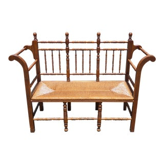 Vintage Tallback French Country Oak Rush Seat Bench Settee