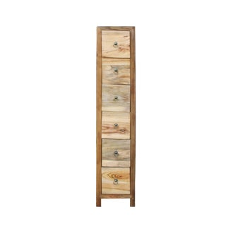 Chinese Raw Wood Slim 6 Drawers Narrow Cabinet For Sale