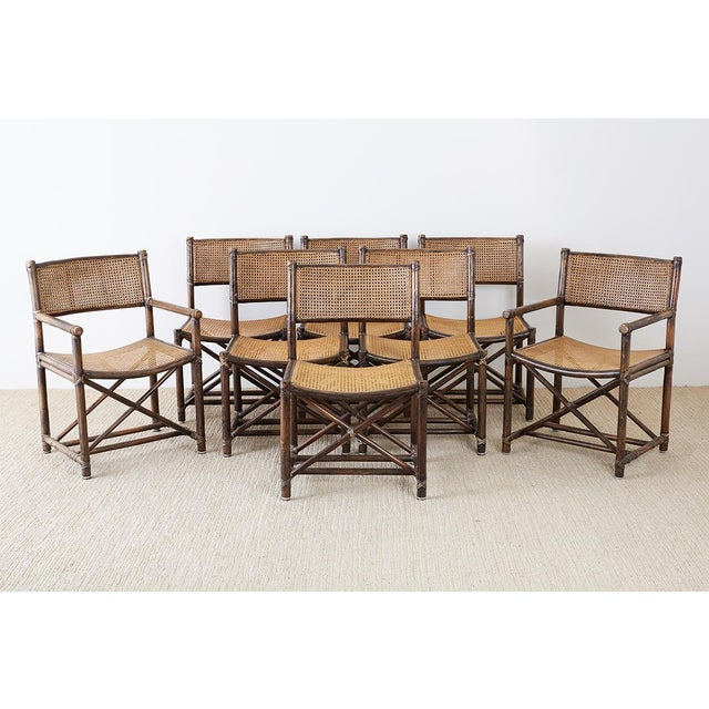 Contemporary Set of Eight McGuire Bamboo Rattan Cane Dining Chairs For Sale - Image 3 of 13