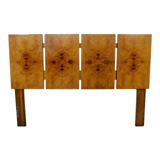 Mid Century Modern Lane Burl Wood Queen Size Headboard 1970s Evans Baughman Era For Sale