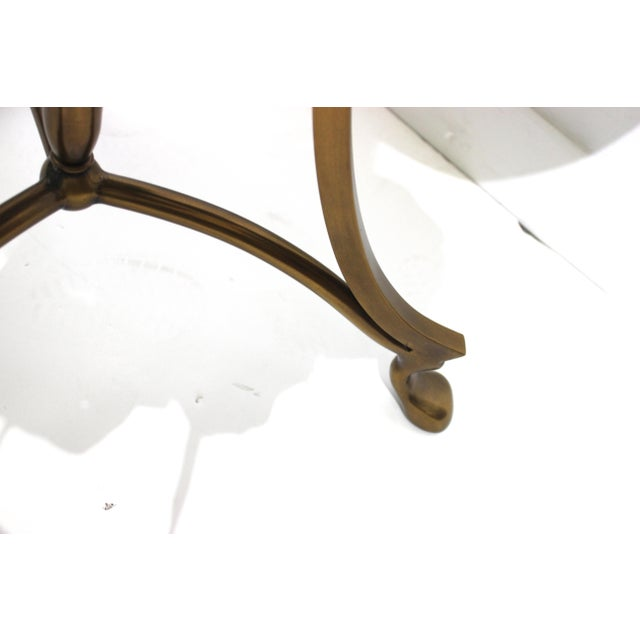 Late 20th Century Vintage Neoclassical Revival La Barge Trefoil Side Table Bronze & Leather For Sale - Image 5 of 12