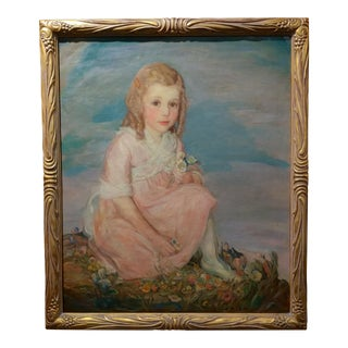 Olive Rush Portrait of Louise Block Oil Painting, C. 1900s For Sale