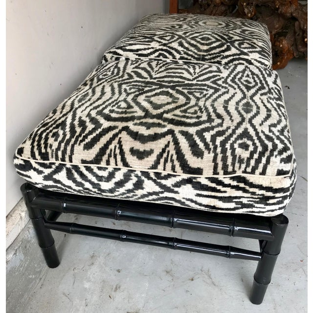 Black Bamboo Stools With Zebra Print Poufs - a Pair For Sale - Image 4 of 7