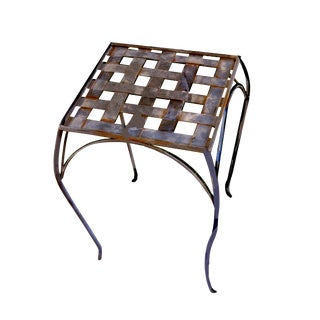 Vintage Metal Weave Unpainted Outdoor Plant Stand/Side Table For Sale